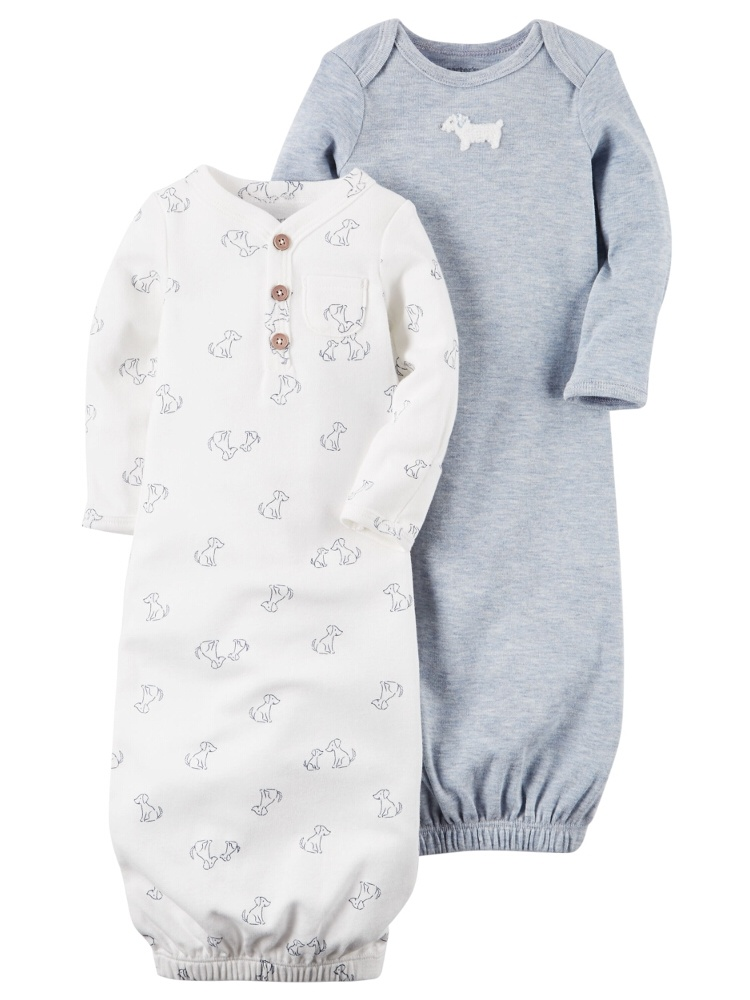 Carters Baby Boys 2-Pack Babysoft Heathered Sleeper Gowns Puppy Blue