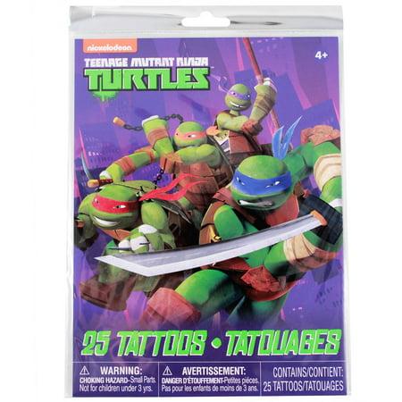 Teenage Mutant Ninja Turtles Temporary Tattoos 25pc Set Kids Party Favor Toy - Turtle Makeup Ideas