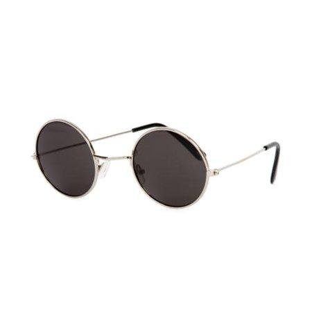 Circular Frame Style Black Lens Silver Frame (Circular Sunglasses Men)