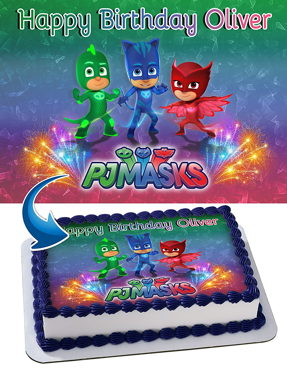 PJ Mask Edible Cake Image Personalized Toppers Icing Sugar Paper A4