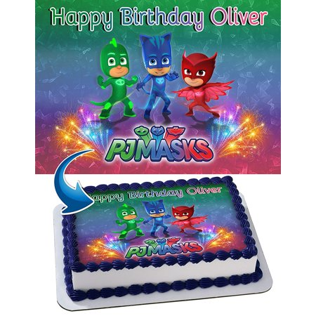 PJ Mask Edible Cake Image Personalized Toppers Icing Sugar Paper A4 Sheet Edible Frosting Photo Cake Topper - Edible Letters For Cakes