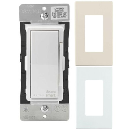Leviton Decora Smart Wi-Fi 600W LED/Incandescent Light Dimmer + Screwless Snap-On Wall Plate (2-Pack)