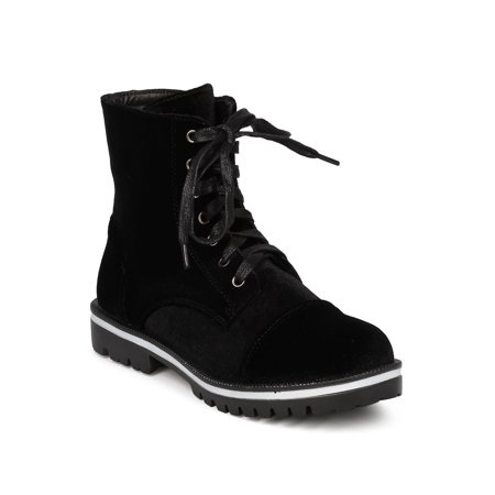 7da3537d5 Cape Robbin - Women Velvet Combat Bootie - Casual, Trendy, Everyday -  Velvet All Weather Boot - GF86 By Cape Robbin - Walmart.com