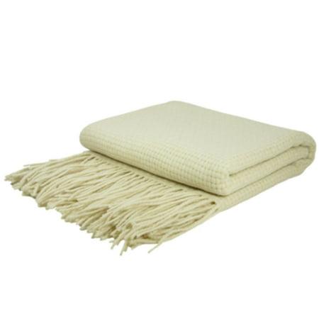Indigo7 Authorized 50/50 Basketweave Cashmere Wool Blend Throw Creme ()