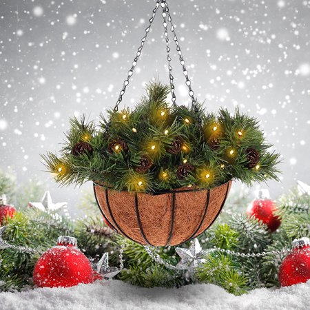 Christmas Hanging Baskets With Lights.12 Hanging Basket Christmas Decor W 20 Led Lights Pine