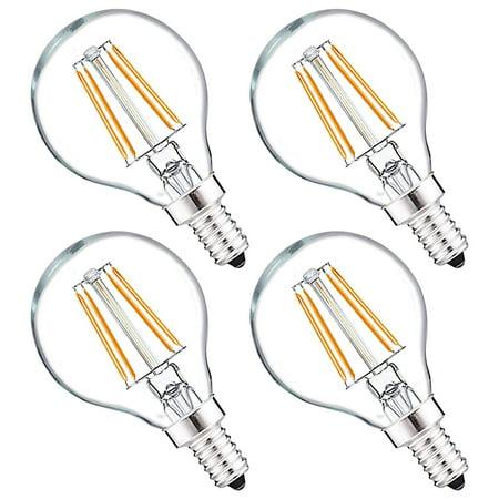 Luxrite G16.5 LED Globe Light Bulb, 40W Equivalent, 2700K Warm White, 450 Lumen, Dimmable, Vintage Edison Bulb, E12 Base - Perfect for String Lights, Vanity Mirrors, or Home Decor Lighting (4 Pack)