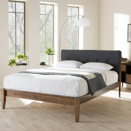 1a111db0e2ec Baxton Studio Leyton Mid-Century Modern Upholstered Queen-Size Platform Bed