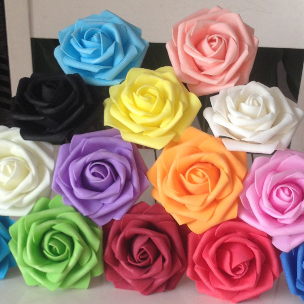Girl12Queen 50Pcs Fake Foam Roses Artificial Flowers Wedding DIY Bridal Bouquet Party Decor