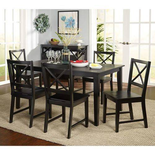 Virginia 7-Piece Dining Set, Black