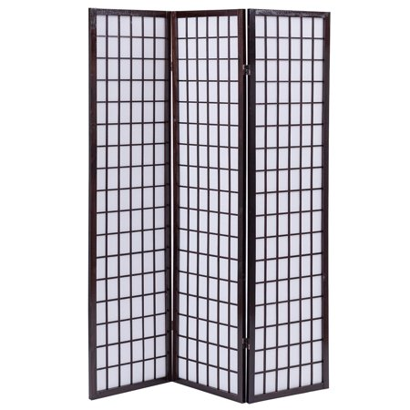 Costway 3 Panel Room Divider Shoji Wood Folding Privacy Screen Cherry