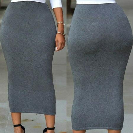 Sexy Women Lady Pencil Skirts High Waist Bodycon Straight Slim Skirt Stretch Solid Midi Skirt Long Skirts Gray Size S ()