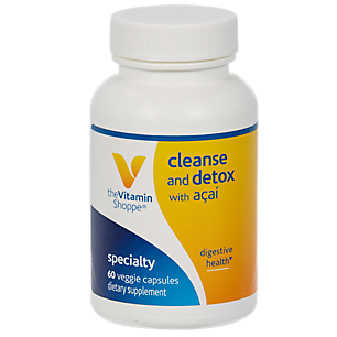 - The Vitamin Shoppe Cleanse  Detox with Acai  Natural Cleansing  Liver Support Blend, Promotes Intestinal Health  Colon Care with Herbs Extracts (60 Veggie Capsules)
