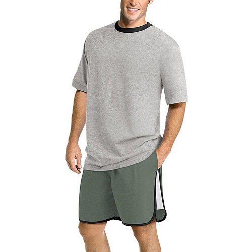 Hanes Men's Short Seeve Raglan Top and Short Sleep Set