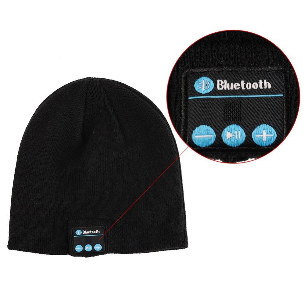 9ddf91398e7 Bluetooth Black Beanie Headphone Headset Hands-Free w Built In Speakers    Mic - Walmart.com