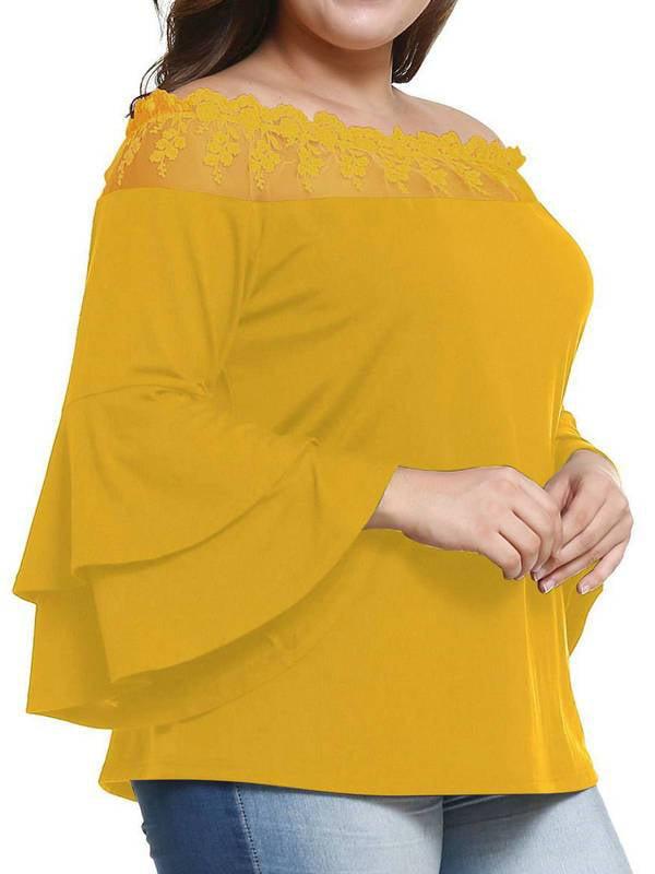 AKFashion Women's Plus Size Off Shlouder Bell Long Sleeve Sexy Blouse Shirts Tops