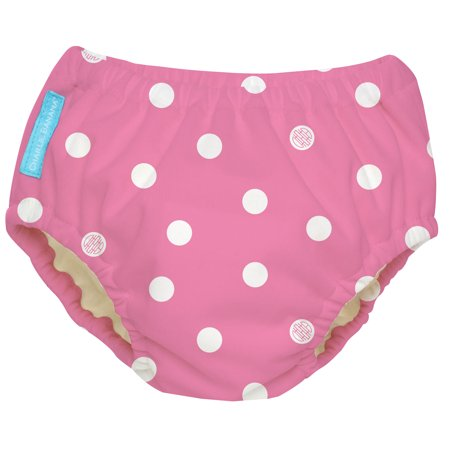 Charlie Banana Reusable Swim Diaper, Big Polka Dots Baby Pink, Size Small