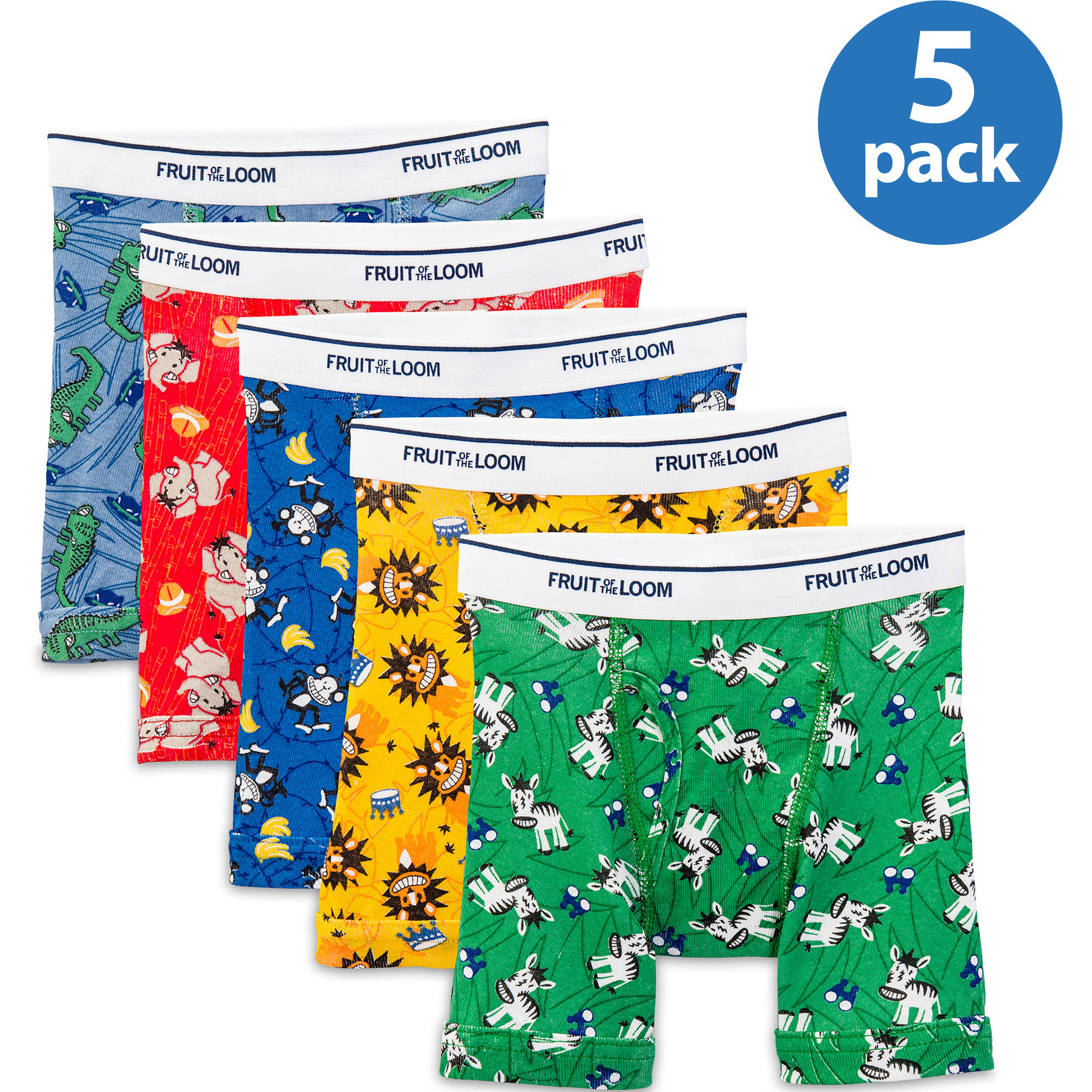 Fruit of the Loom 5Pack Boys Assorted ComfortSoft Boxer Briefs Underwear