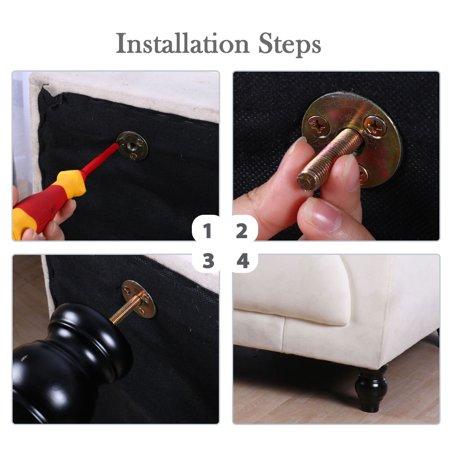 "4.7"" Solid Wood Furniture Leg Cabinet Closet Feet Adjuster Replacement Set of 2 - image 6 de 7"