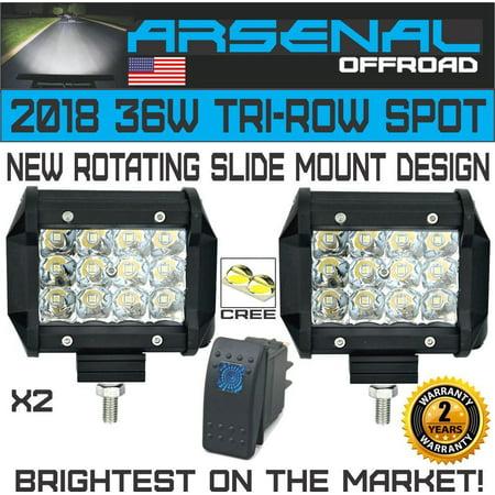 2X 36W 4In LED Pro Pod Cubes Work Light Bar Spot Beam 4x4 Jeep RZR UTV - Spot Beam