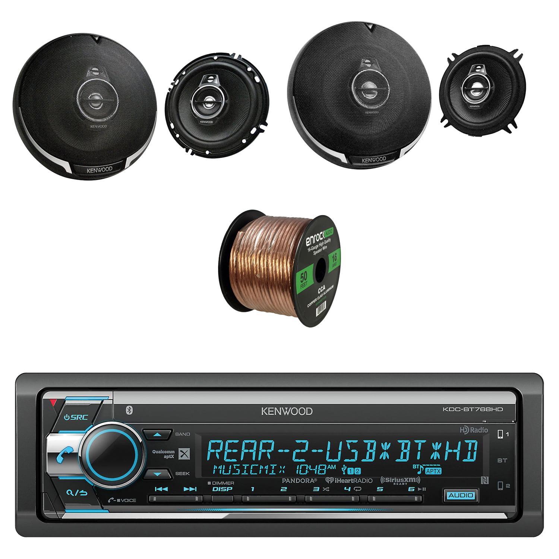 Kenwood Single Din CD/AM/FM Car Audio Receiver W/Bluetooth with Kenwood Performance Series 6.5 Inch Speakers Pair, Kenwood 3-Way 5.25 Inch Car Audio Coaxial Speakers Pair and Enrock Audio Speaker Wire