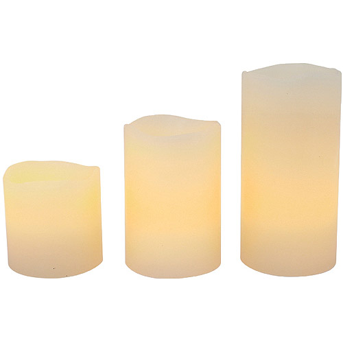 Flameless LED Pillar Candles with Timer Feature, 3-Pack