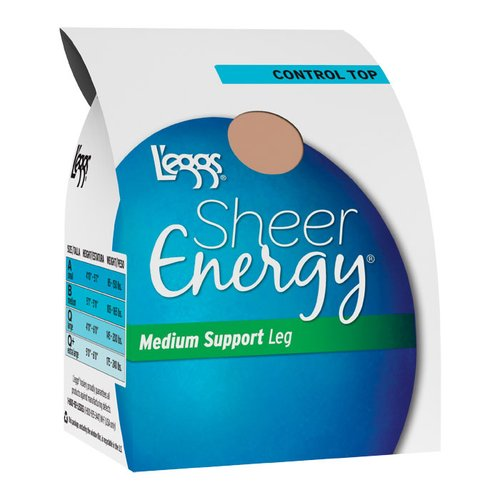Hanes L'eggs Sheer Energy Control Top Medium Support Pantyhose, 1-Pair