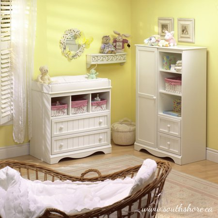 South Shore Savannah Collection 4-Drawer Dresser and Armoire, Multiple Finishes - Edwardian Armoire Set