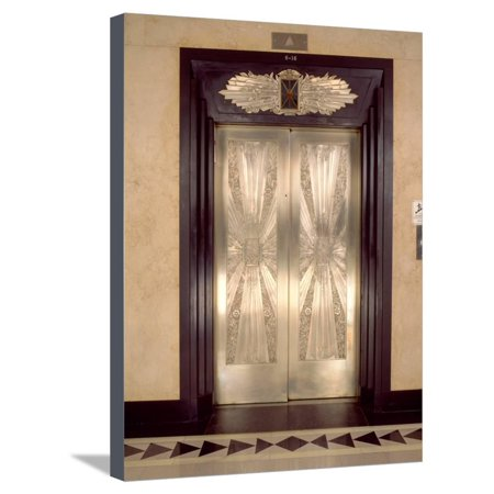 Nickel Metalwork Art Deco Elevator Doors, Two North Riverside Plaza, 400 West Madison Street Stretched Canvas Print Wall Art By Green Light - Art Deco Door