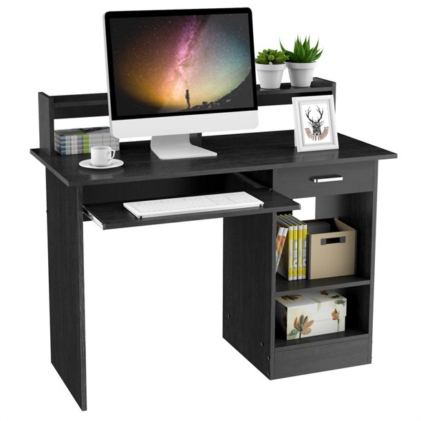 SmileMart Wooden Computer Desk Small Spaces Laptop Desktop Table with Drawers Storage Shelf Keyboard Tray for Home Office, Black