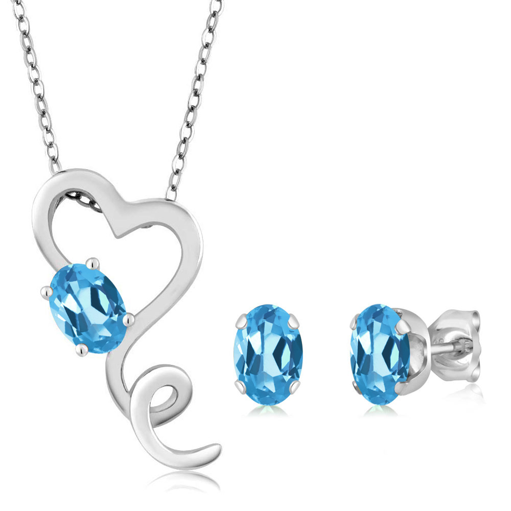 2.45 Ct Oval Swiss Blue Topaz 925 Sterling Silver Pendant Earrings Set by