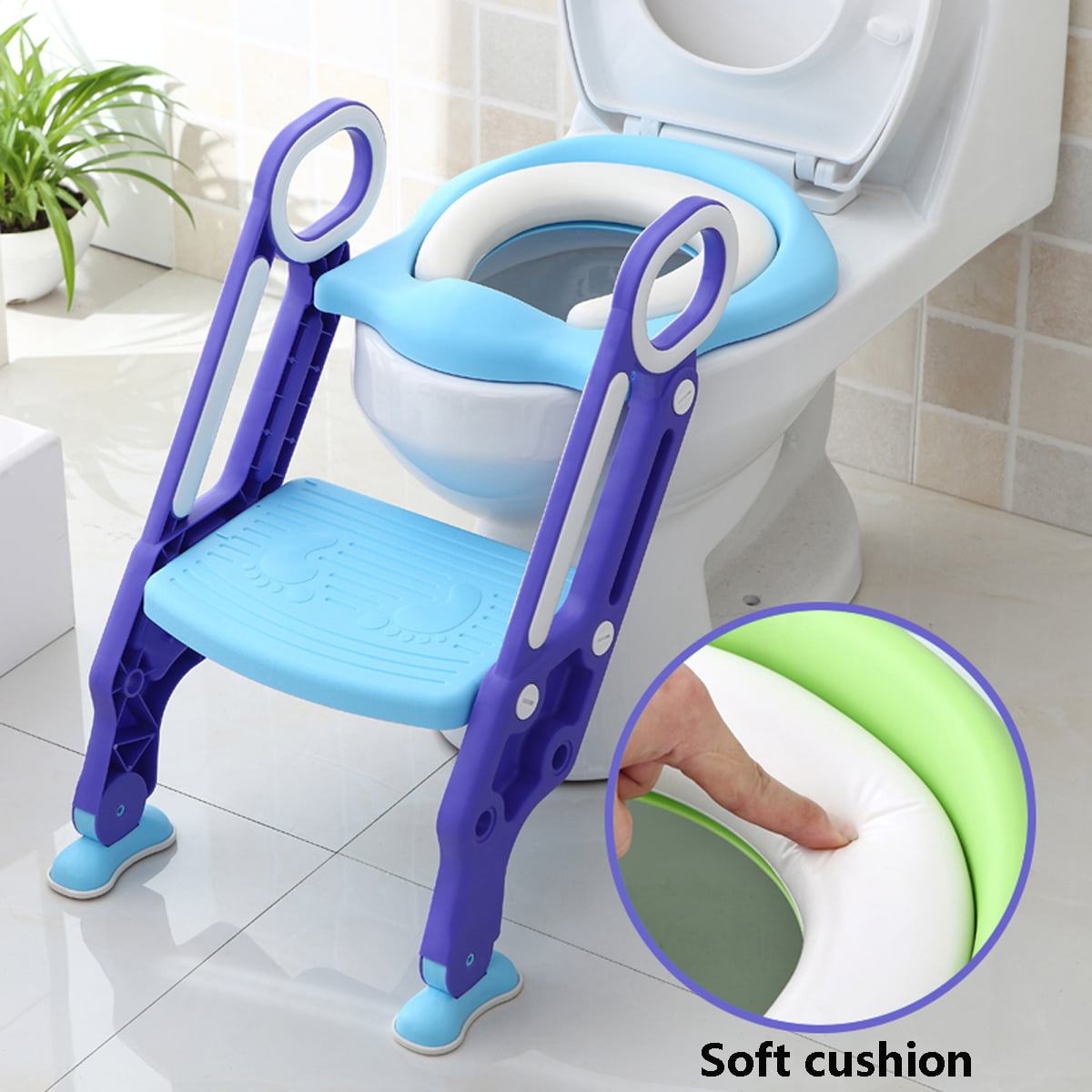 Non-Slip Kids Toilet Potty Soft Padded Seat Step Up Training Stool Chair Toddler Ladder by Unbranded