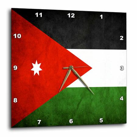 3dRose Jordan Flag - Wall Clock, 10 by 10-inch (Jordan Wall Clock)