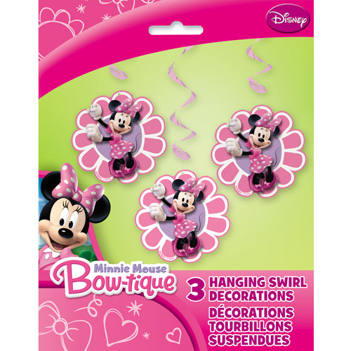 Minnie Mouse Hanging Swirl Decoration, 3pk