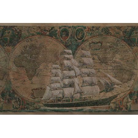 Ship Map - 879106 Satin Old World Sailing Ship Map Wallpaper Border