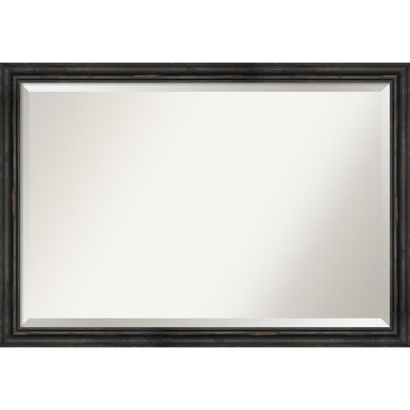 Amanti Art Wall Mirror, Rustic Pine Narrow Black - Black/Brown ()