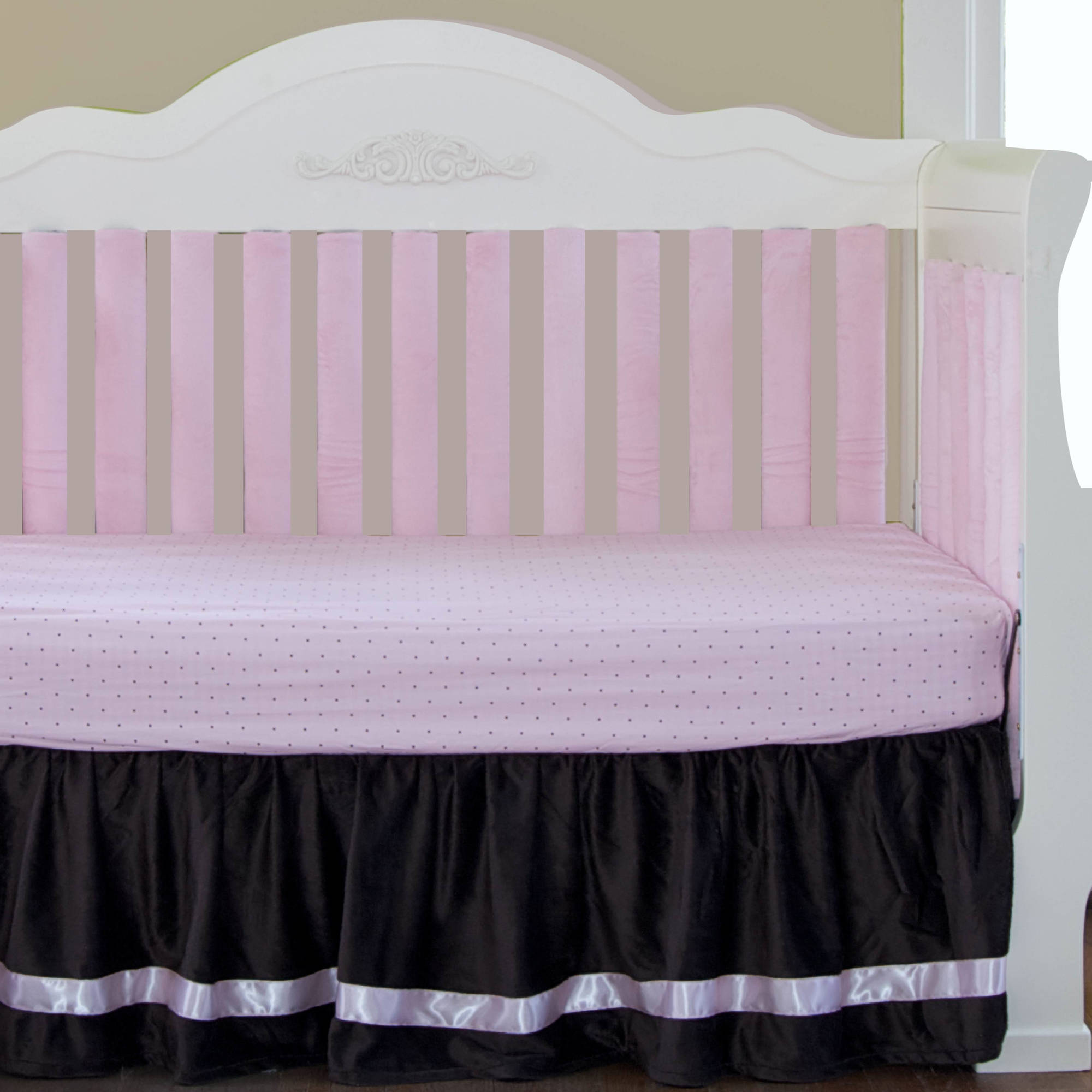 "Go Mama Go Designs Luxurious Chocolate Minky with Pink Satin Trim 16"" Dust Ruffle"