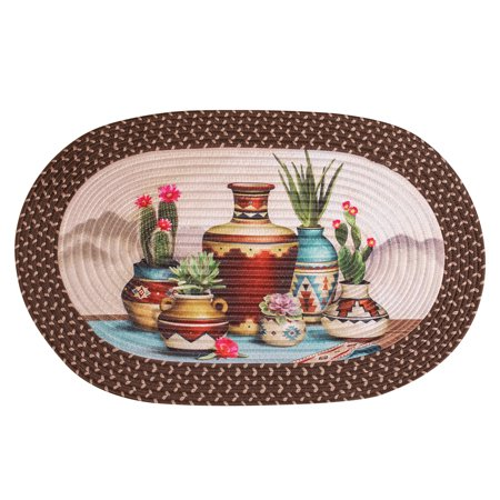 Southwest Kitchen Theme Décor Oval Braided Rug, Cactus in Pottery - Kitchen Decorating Themes