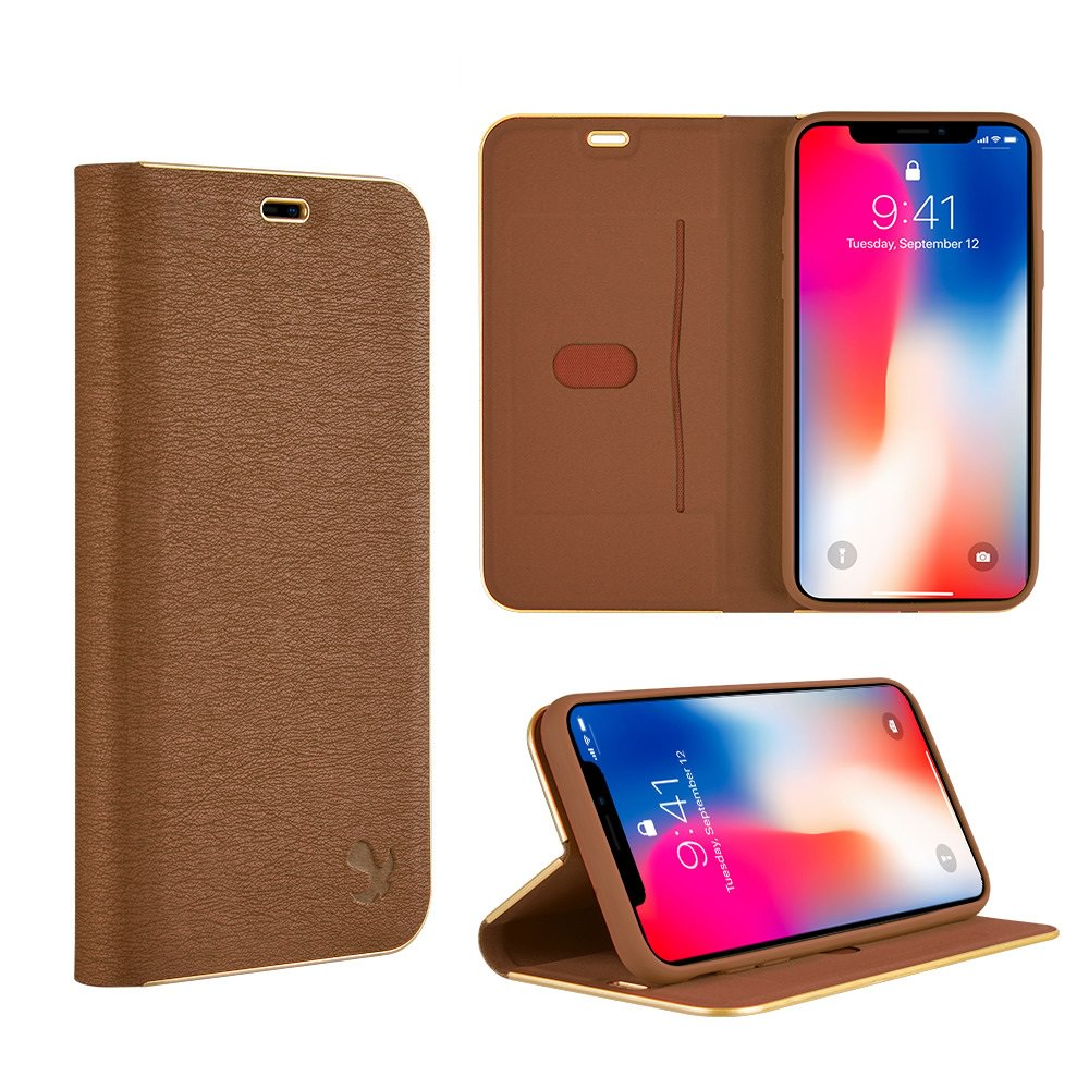MUNDAZE Brown Business Style Magnetic Flip Case For Apple iPhone X Phone