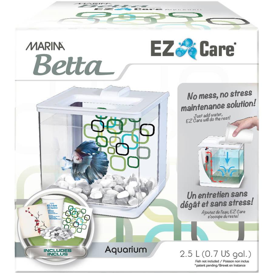 Marina Betta EZ Care 0.5 Gallon Aquarium Starter Kit, White