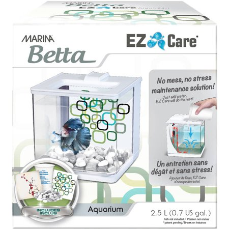 - Marina Betta EZ Care 0.5-Gallon Aquarium Starter Kit, White