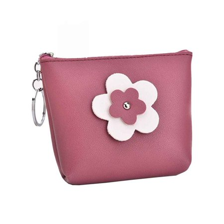 Women's Sun Flower PU Leather Coin Purse Small Zipper Change Wallet Key Holder (Leather Zippered Tie Case)