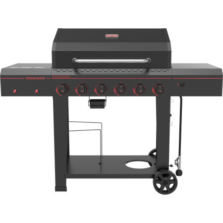 Megamaster Electronic 6 Burner 753 Sq. Inch Gas Grill w/ Built In (Best Built In Outdoor Propane Grill)