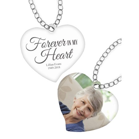 Personalized Silver Cartouche Pendant (Personalized Forever In My Heart Photo)