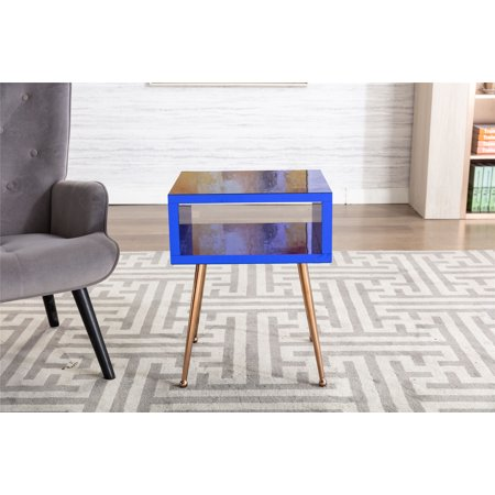 """Mirror Coffee Table, Mirror End Table, Bedside Table, Nightstand with an Open Drawer, Living Room Snack Table, Modern Simple Bedroom Nightstand, 17.91""""W x 15.16""""D x 23.22""""H, Navy, L1008"""