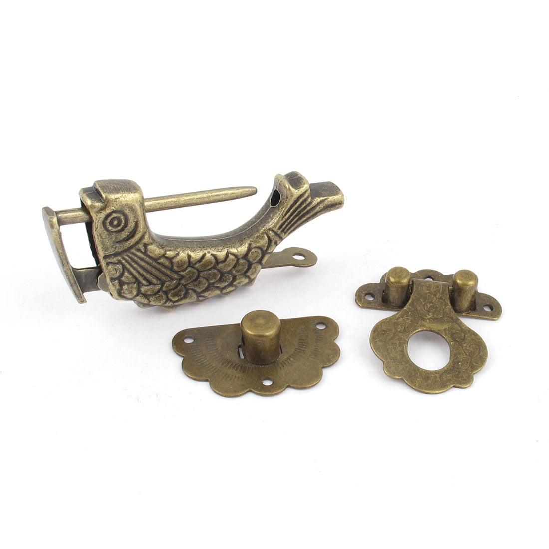 Unique Bargains Metal Fish Shaped Chinese Padlock Lock Key Toggle Latch Clasp Set Bronze Tone