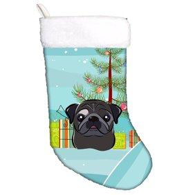 Christmas Tree and Black Pug Christmas Stocking BB1635CS