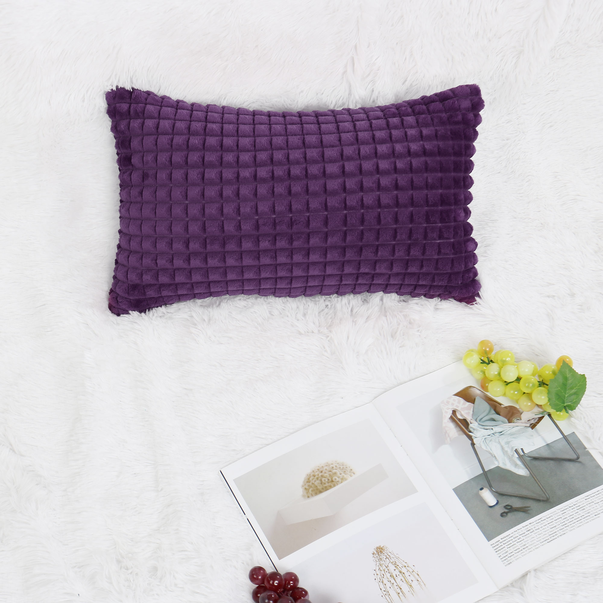 Plush Throw Pillow Case Faux Fur Cushion Cover Deluxe Home Decorative for Sofa Couch Bed Car (12 x 20 Inch 30 x 50cm, Pu - image 1 de 8