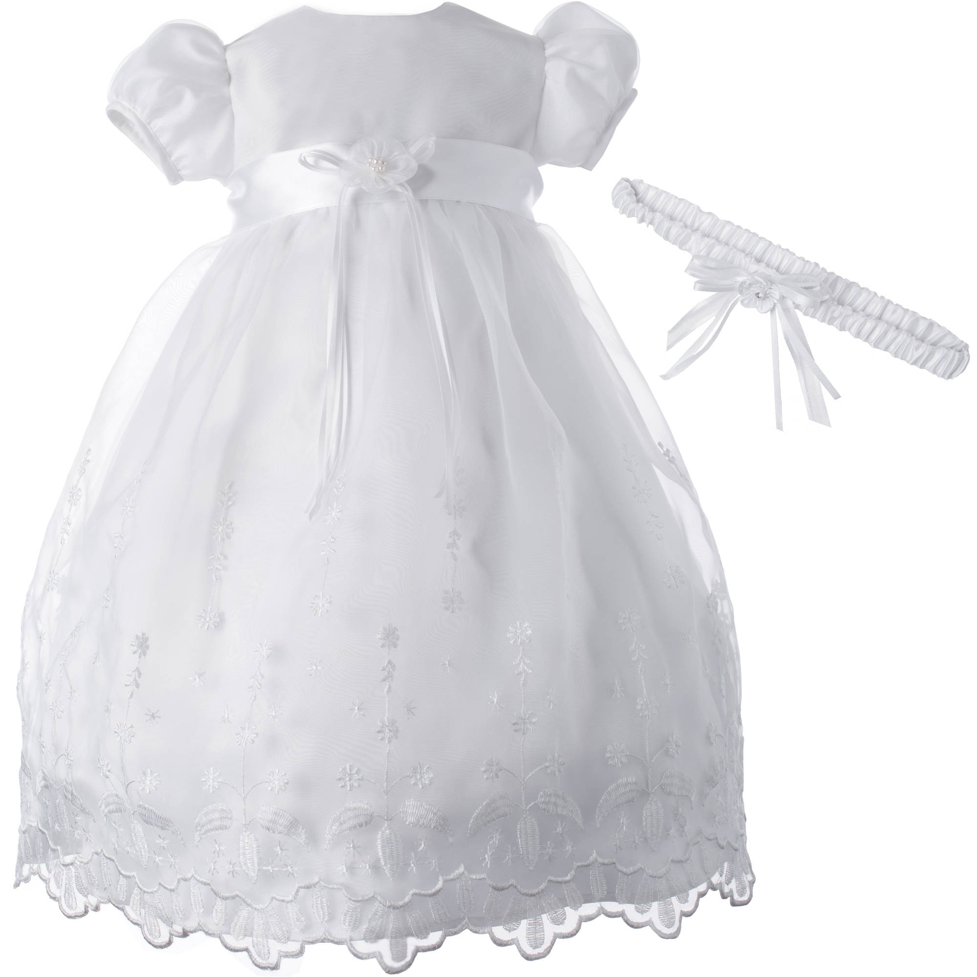 Christening Baptism Newborn Baby Girl Special Occasion Organza Over Bridal Satin Floral Embroidered Dress Gown Outfit With Scalloped Bottom