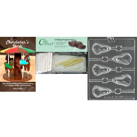 Cybrtrayd Large Lacrosse Lolly Chocolate Mold with Lollipop Supply Bundle, Includes 25 Lollipop Sticks, 25 Cello Bags and 25 Gold Twist Ties