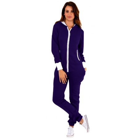 de59aea8e00f Skylinewears - SkylineWears Women s Ladies Onesie Hoodie Jumpsuit Playsuit  Dark Purple Large - Walmart.com